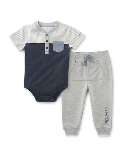 Calvin Klein Two-Piece Knit Bodysuit and Jogger Pants Set-GREY-0-3 Months 88928777_GREY_0-3 Months