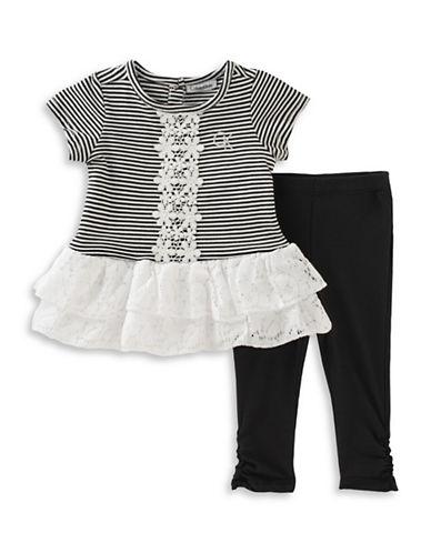 Calvin Klein Two-Piece Striped Tunic and Capri Pants Set-BLACK-24 Months
