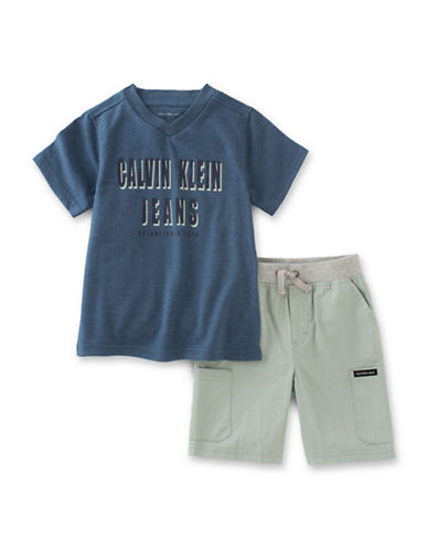 Calvin Klein Two-Piece V-Neck Tee and Shorts Set-GREEN-12 Months