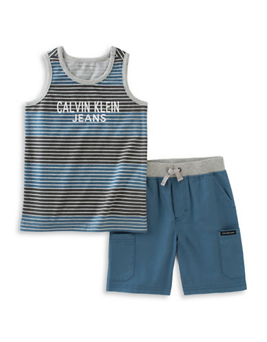 Calvin Klein Logo Stripe Tank and Poplin Shorts Set-BLUE-12 Months