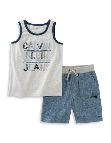 Calvin Klein Logo Tank and Printed Poplin Shorts Set-GREY-18 Months