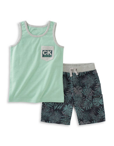 Calvin Klein Pocket Tank and Tropical Poplin Shorts Set-GREEN-18 Months