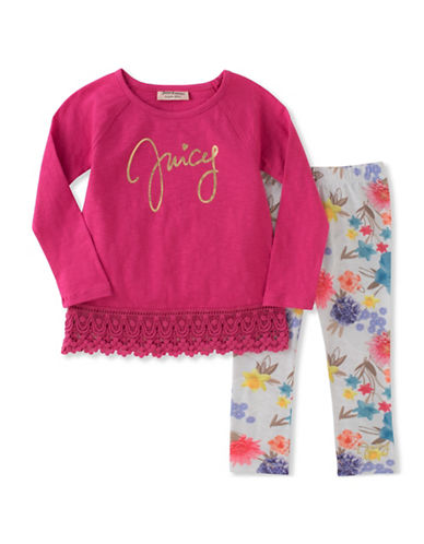 Juicy Couture Two-Piece Floral and Crochet Legging Set-ASSORTED-6