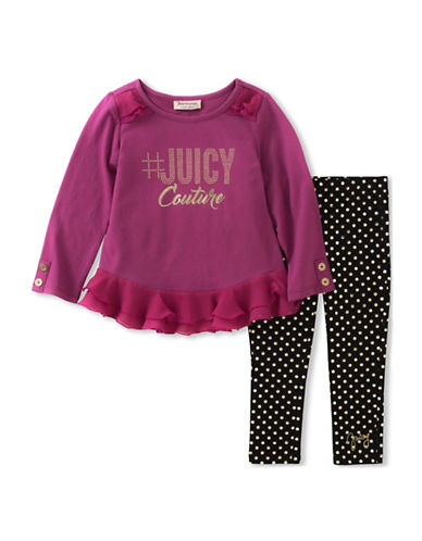 Juicy Couture Two-Piece Ruffle Top and Dot Leggings Set-ASSORTED-4