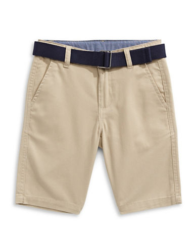 Chaps Stretch Four-Pocket Shorts with Belt-BEIGE-5