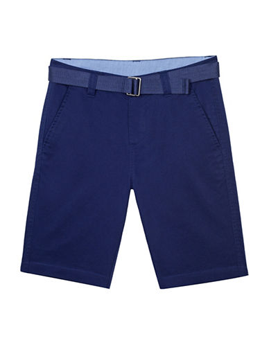 Chaps Stretch Four-Pocket Shorts with Belt-BLUE-6