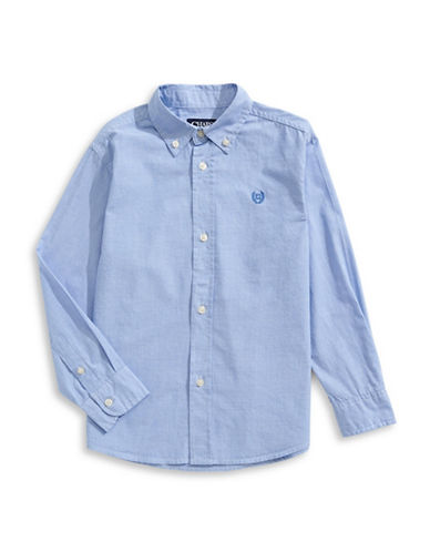 Chaps Cotton Long Sleeve Button Down Shirt-BLUE-4