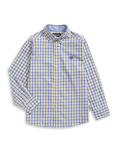 Chaps Tattersall Check Cotton-Blend Button-Down Shirt-YELLOW-6