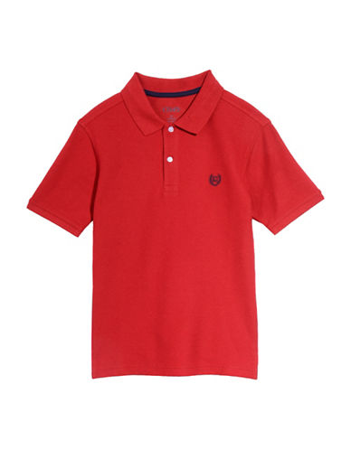 Chaps Short Sleeve Ribbed Collar Polo Shirt-RED-7