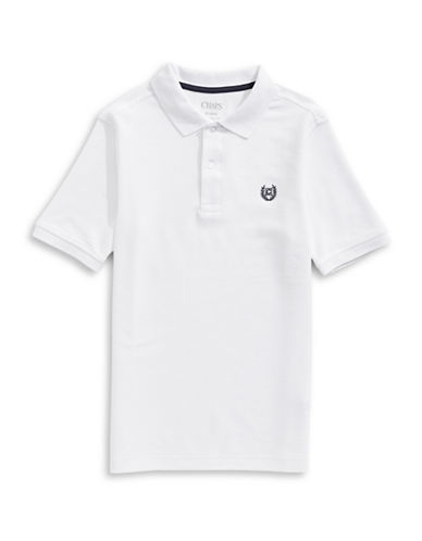 Chaps Solid Pique Polo-WHITE-X-Large