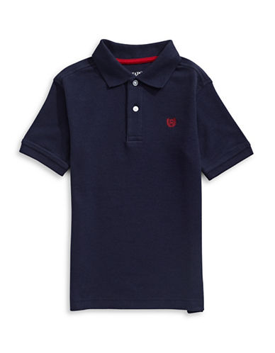 Chaps Solid Pique Polo-BLUE-Medium