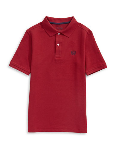 Chaps Solid Pique Polo-RED-Small
