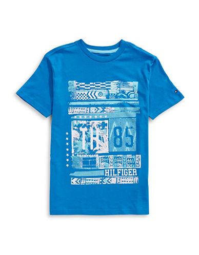 Tommy Hilfiger Tiki Print T-Shirt-BLUE-Small