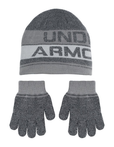 Under Armour Heather Beanie and Gloves Set-BLACK-4-6