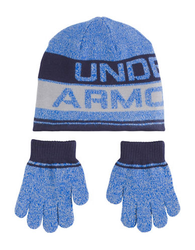 Under Armour Heather Beanie and Gloves Set-BLUE-4-6