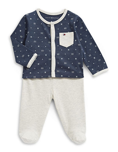 Tommy Hilfiger Two-Piece Printed Button Top and Footed Pants Set-GREY-6-9 Months