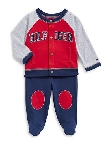 Tommy Hilfiger Two-Piece Jersey Button Top and Footed Pants Set-RED-6-9 Months