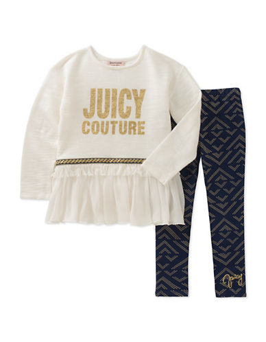 Juicy Couture Two-Piece Ruffle and Printed Legging Set-ASSORTED-2X