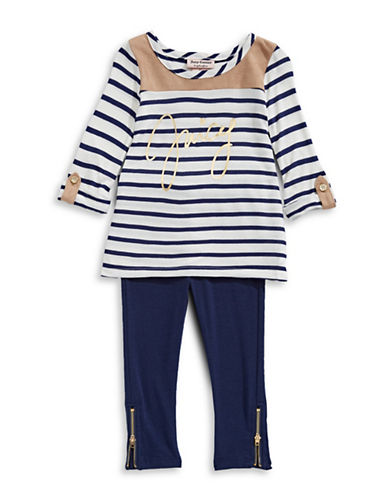 Juicy Couture Two-Piece Striped Top and Leggings Set-ASSORTED-3X