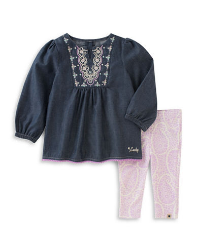 Lucky Brand Two-Piece Printed Leggings and Pants Set-BLUE-18 Months