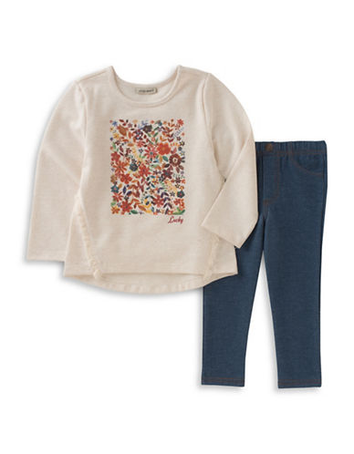 Lucky Brand Two-Piece Printed Top and Knitted Pants Set-BLUE-12 Months