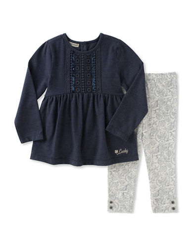 Lucky Brand Two-Piece Crochet Detail Tunic and Legging Set-MULTI-4