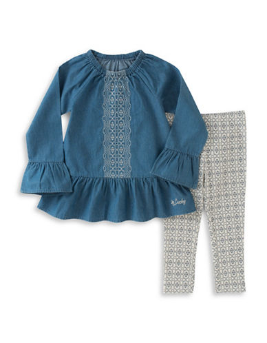 Lucky Brand Two-Piece Embroidered Cotton Top and Leggings Set-BLUE-12 Months