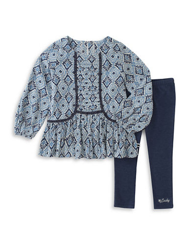 Lucky Brand Two-Piece Printed Top and Leggings Set-BLUE-12 Months