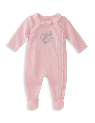 Calvin Klein Logo Coverall-PINK-0-3 Months