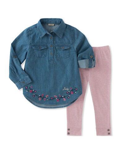 Lucky Brand Two-Piece Floral Detail Denim Tunic and Leggings Set-MULTI-2X
