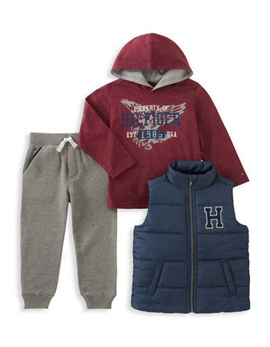 Tommy Hilfiger Three-Piece Quilted Vest, Hoodie and Pants Set-ASSORTED-3T