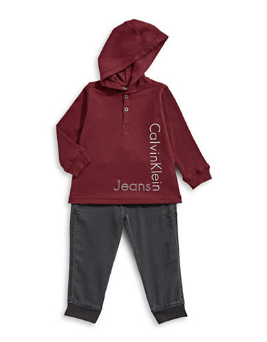 Calvin Klein Two-Piece Graphic Thermal Set-RED-3T
