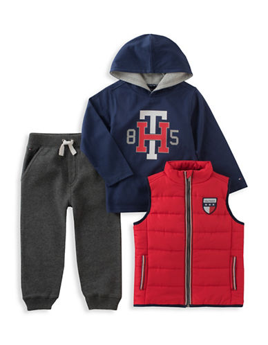 Tommy Hilfiger Three-Piece Quilted Vest, No. 85 Hoodie and Pants Set-ASSORTED-2T