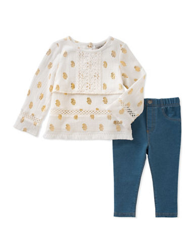 Lucky Brand Two-Piece Embroidered Floral Blouse and Denim Leggings Set-WHITE-12 Months