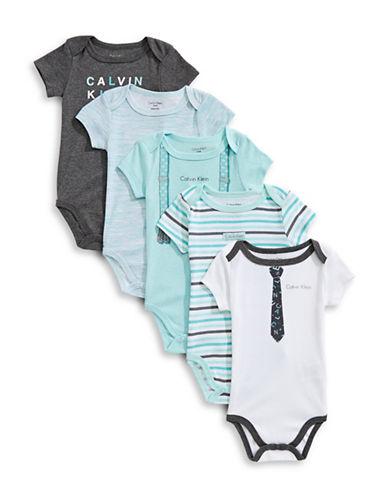 Calvin Klein Five-Pack Print Bodysuits-BLUE-0-3 Months