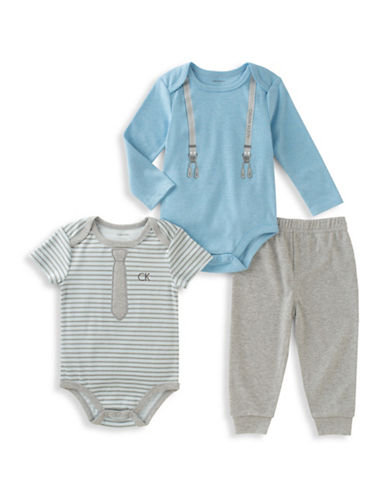 Calvin Klein Two-Piece Bodysuit and Pants Set-GREY/BLUE-18 Months