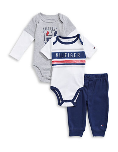 Tommy Hilfiger Three-Piece Graphic Bodysuits and Pants Set-GREY-0-3 Months