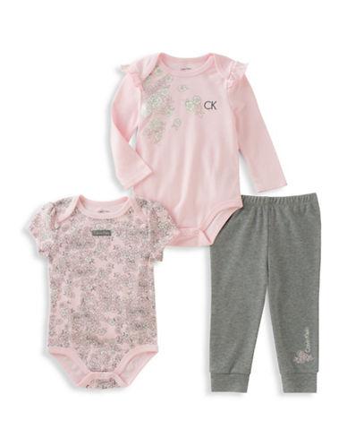 Calvin Klein Three-Piece Short Sleeve Bodysuit, Long Sleeve Bodysuit and Pants Set-PINK-12 Months