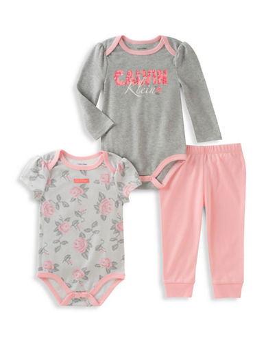 Calvin Klein Three-Piece Short Sleeve Bodysuit, Long Sleeve Bodysuit and Pants Set-PINK-0-3 Months
