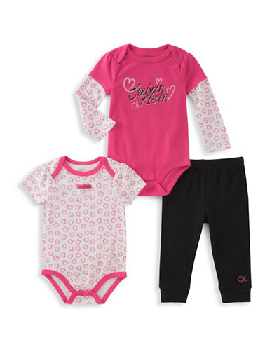 Calvin Klein Three-Piece Short Sleeve Bodysuit, Long Sleeve Bodysuit and Pants Set-PINK-3-6 Months