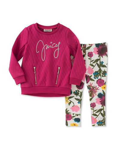 Juicy Couture Two-Piece Quilted Top and Floral Leggings Set-ASSORTED-4X
