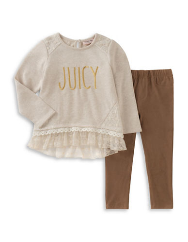Juicy Couture Two-Piece French Terry and Faux Suede Legging Set-ASSORTED-4X