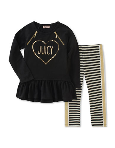 Juicy Couture Two-Piece Heart Top and Striped Leggings Set-ASSORTED-3X