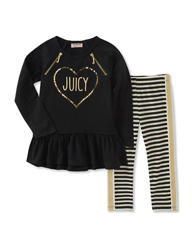 Juicy Couture Two-Piece Heart Top and Striped Leggings Set-ASSORTED-6X