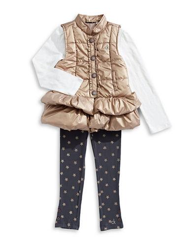 Calvin Klein Three-Piece Vest, Top & Star Leggings Set-MULTI-4