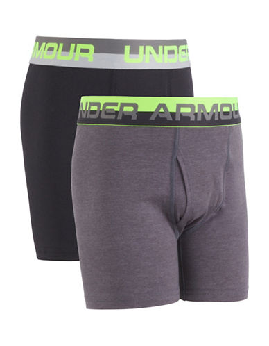 Under Armour Two-Pack Logo Boxer Brief Set-GREY-Medium