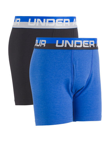Under Armour Two-Pack Logo Boxerjock Boxer Brief Set-BLUE-Large