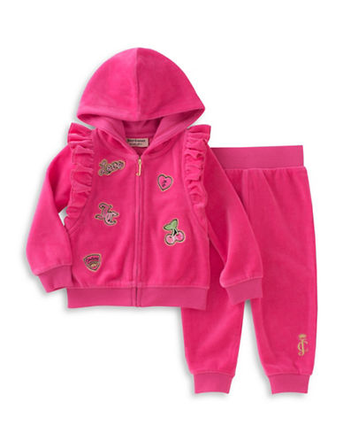 Juicy Couture Two-Piece Patched Hoodie and Pants Set-PINK-12 Months