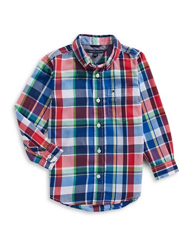 Tommy Hilfiger Quick-Dry Plaid Button Shirt-BLUE-7