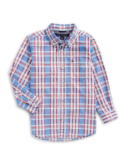 Tommy Hilfiger Plaid Button Shirt-BLUE-2